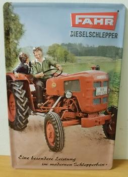 Fahr Dieselschlepper metalen reclamebord   RELIEF