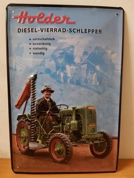 Holder diesel vierrad schlepper  metalen reclamebord Relief