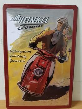 Heinkel Tourist brommer metalen reclamebord   RELIEF
