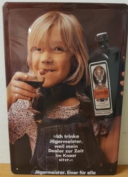 Jagermeister dealer meisje metalen reclamebord RELIEF
