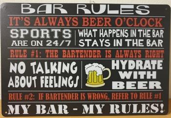 Bar Rules always Beer o clock metalen wandbord