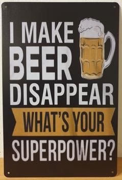 Make beer disappear metalen wandbord