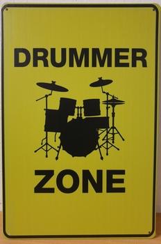 Drummer Zone geel reclamebord metaal