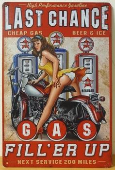 Last change Gas Fill er Up reclamebord metaal