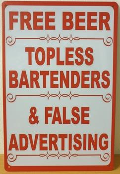 Free Beer topless bartenders reclamebord metaal