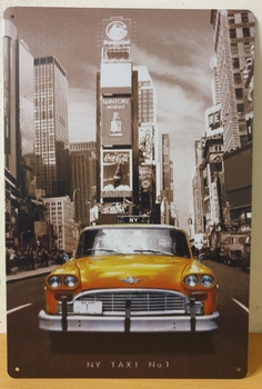 New York Taxi reclamebord metalen wandbord