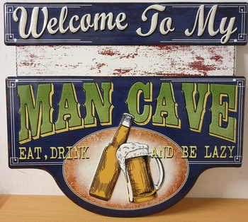 Welcome to my man cave metalen uitgesneden relief