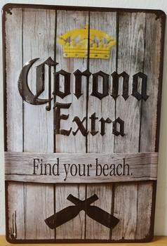 Corona Find you beach metalen bord relief 30x20cm