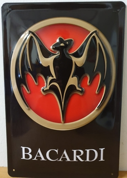 Bacardi logo metalen wandbord RELIEF 30x20