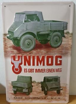 Unimog Boehringer reclamebord metaal RELIEF 30x20