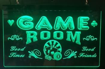 Game room good times friends groene led lamp