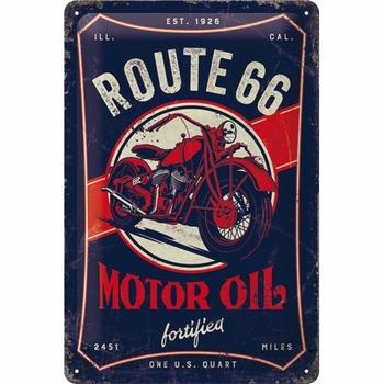 Route 66 motor oil metalen relief reclamebord
