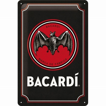 Bacardi logo black red metalen relief reclamebord