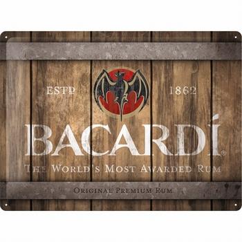 Bacardi wood barrel logo reclamebord relief