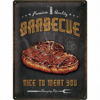 Barbecue bbq nice to meat metalen reclamebord relief