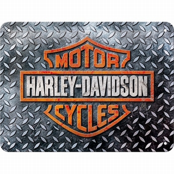 Harley Davidson diamond plate metalen wandbord