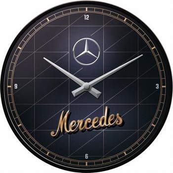 Mercedes Benz silver gold wandklok