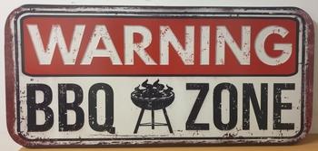 Warning BBQ zone XXL wandbord metaal
