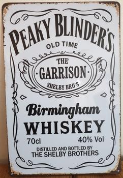 Peaky Blinders Whiskey wit reclamebord metaal