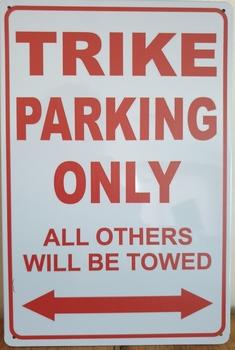 Trike Parking Only reclamebord metaal