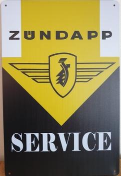 Zundapp service geel zwart reclamebord metaal