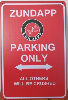 Zundapp Parking Only reclamebord metaal