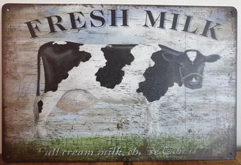 Fresh Milk Koe Reclamebord metaal