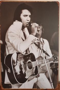 Elvis Presley wit zwart staand Reclamebord metaal
