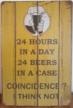 24 hours 24 beer Reclamebord metaal