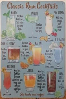 Classic Rum Cocktails reclamebord metalen