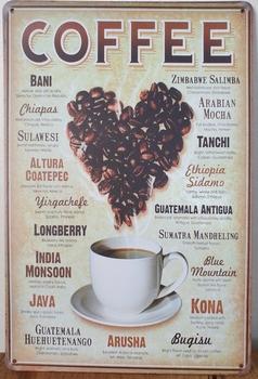 Coffee Bonen hart Reclamebord metaal