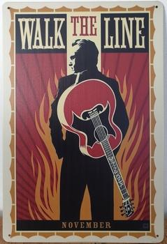 Johnny Cash walk the line reclamebord metaal