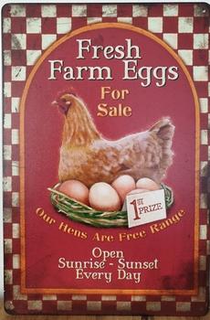 Fresh Farm Eggs kippen eieren Reclamebord metaal