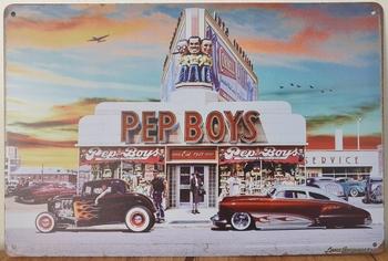 Pep Boys hotrod diner Reclamebord metaal