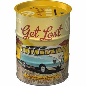 VW Bulli lets get lost oil barrel metalen spaarpot