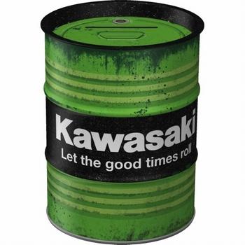 Kawasaki oil barrel spaarpot metaal