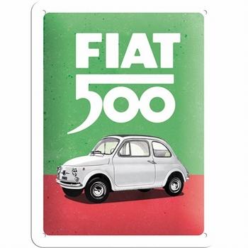 Fiat 500 italian colours metalen wandbord