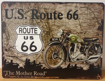 US route 66 groene motor metalen wandbord