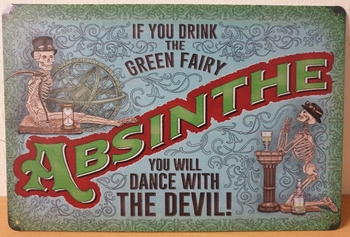 Absinth dance with the devil Reclamebord metaal 30x20
