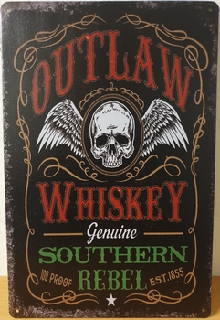 Outlaw Whiskey Reclamebord metaal