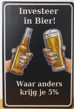 Investeer in Bier Reclamebord metaal