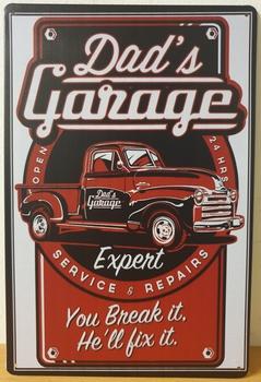 Dad's Garage rode pickup Reclamebord metaal