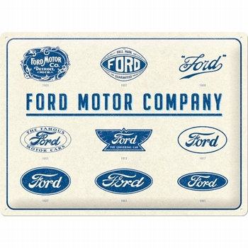 Ford motor company logo evolution metalen reclamebord