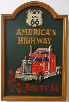 Vrachtwagen route 66 america's highway pubbord hout