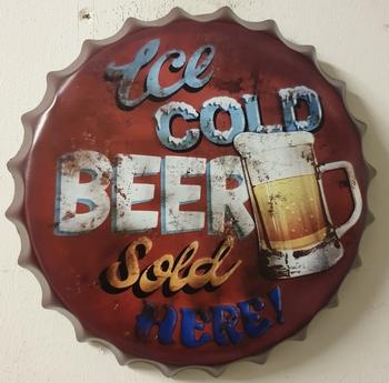 Ice cold beer sold here metalen bierdop