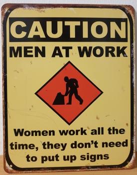 Caution men at work metalen wandbord