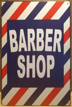 Barber shop blauw wit rood reclamebord van metaal