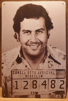 Pablo Escobar Reclamebord metaal