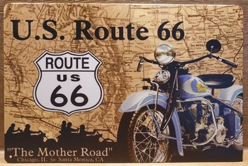 Route 66 Motor Kaart Reclamebord metaal