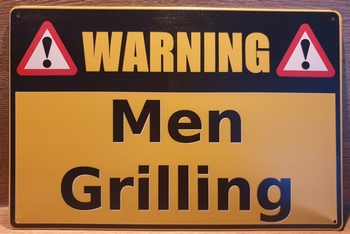 Warning Men Grilling Reclamebord metaal